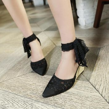 New arrivals women shoes Elegant fashion Lace sandals Ankle Strap Cut-Outs Solid Wedges Cover Heel sexy pumps summer shoes