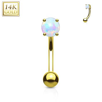 Prong Set Opal Stone 14K Solid Gold Curved WildKlass Barbell Eyebrow Ring