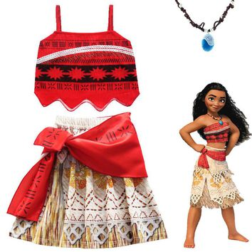 Moana Girl Summer Dress with Necklace Kids Adventure Outfit Children Princess Beach Party Cosplay Costume Vaiana swimsuit Bikini