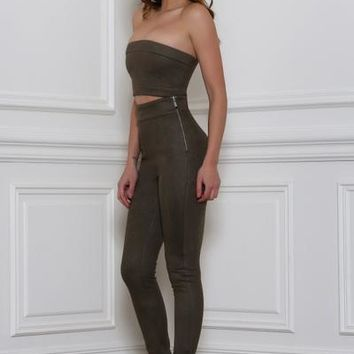 Rhythm and Suede Pants-Khaki