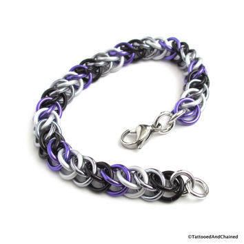 Ace pride bracelet, chainmaille half Persian 3 in 1 weave