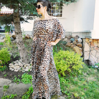 Leopard Printed Long Dress / Oversize Caftan/ Party Evening Casual Dress/ Loose Maxi Dress / Extravagant Dress by moShic D006
