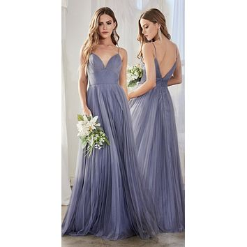 Long A-Line Tulle Dress Smokey Blue Gathered Sweetheart Neckline Pleated Finish