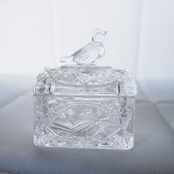 Vintage Hofbauer Bird trinket jewelry crystal glass chest box West German glass Byrdes Collection ring necklace earrings small ring holder