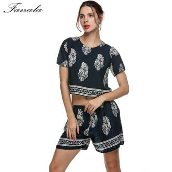 FANALA Vintage Style Women Summer Casual Print O-Neck Shorts Sleeve Crop Tops + Elastic Waist Shorts Women Two Piece Set