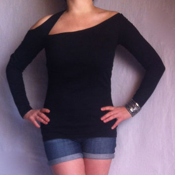 Asymmetric Long Sleeves Tee / One of a Kind Fashion Top / Black Cotton Spandex Shirt/ Black Blouse/ Sexy Black Top