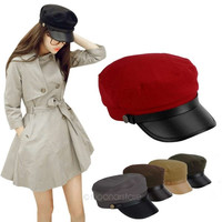 2014 Retro Women Men Leather Brim Flat Sailor Army Military Cadet Cap Sun Hats = 1932169284