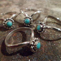 Authentic Navajo,Native American,Southwestern,sterling silver Chevron sleeping beauty Turquoise rings.Can be pinky/knuckle rings..