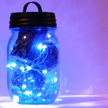 Super Bright Blue LED Fairy Garden in Blue Heritage Pint Mason Jar with Rattan Balls, Black Primitive Style Handled Lid - Nightlight, Decor