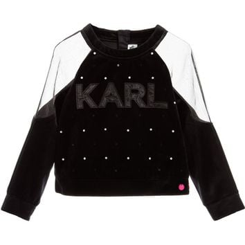 Karl Lagerfeld Girls Velour 'Crazy Party' Sweater