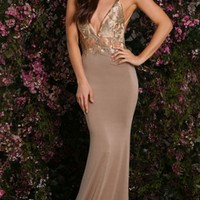Always Amazing Nude Gold Metallic Lace Spaghetti Strap Plunge V Neck Backless Ruched Maxi Dress Gown