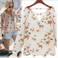 Floral V-neck Cuff Sleeve Blouse