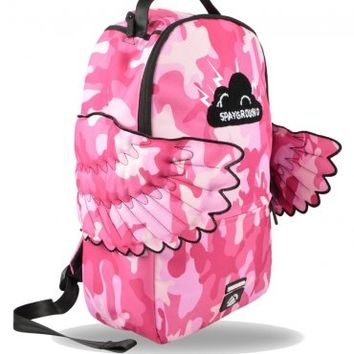 Sprayground Black Pyramid CB Pink Camo Wings Backpack