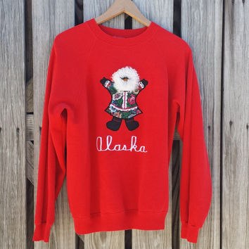 Vintage ALASKA Eskimo Sweatshirt - Red Sweatshirt - Ugly Sweater - SZ M/L