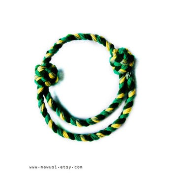 Emerald and Avocado Green Chunky Braid Yarn Headband, Necklace (2 in 1) - Adjustable and Versatile