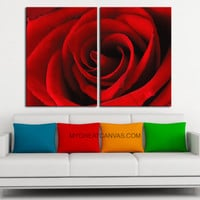 Large Wall Art Canvas Print 2 Panel Rose Flower - For Love Rose Flower Wall Art Canvas
