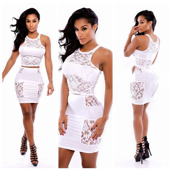 Lace Embroidered Sleeveless Bodycon Cropped Top Mini Skirt Set