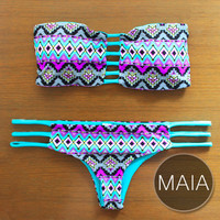 MAIA - Handmade Brazilian Bikini with Reversible Bottom & Bandeau Strap Top in Unique Design