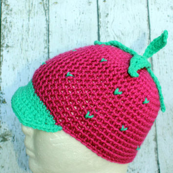 Crochet Strawberry Hat Beanie with Brim Bright Pink/green, Racer Girl Character Costume