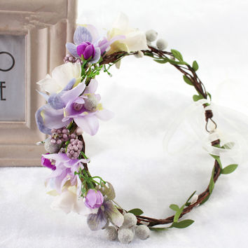 2017 Bride Wedding Flower Headband Wreath Hairband Party Flower Girl Hair Accessories Flower Crown garland Flower Headpiece