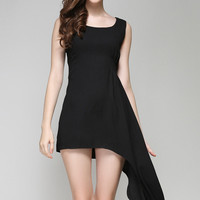 Black Sleeveless Fishtail Mini Dress