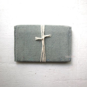 Handmade hand-dyed ocean green, olive green canvas double passport wallet - Volcano Store