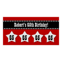 65th Birthday Red Black White Stars Banner V65S Posters