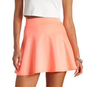 High-Waisted Skater Skirt by Charlotte Russe - Neon Coral