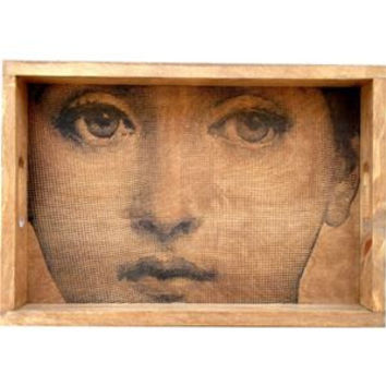 19th Century Woman Wood Serving Tray