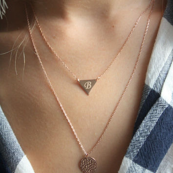 Dainty Gold Triangle Necklace // Layered Set of 2 Necklaces // Hammered Silver or Gold Bar Necklace