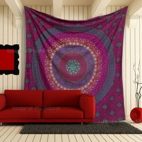 Pink Floral Mandala Tapestries Elephant Tapestries Hippie Throw Bohemian Wall Ha...