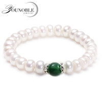 YouNoble Wedding Freshwater Pearl Bracelet for Women Elastic,Real Natural Pearl Bracelets Jewelry Girl Best Gift Birthday Jade