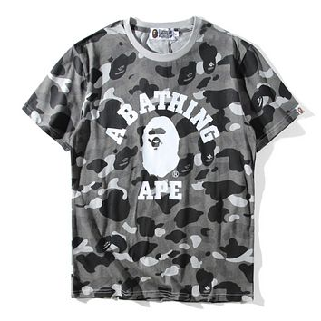 Bape Aape Summer Fashion New Letter Print Camouflage Women Men Top T-Shirt Gray