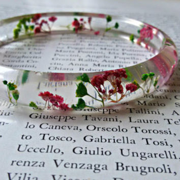 Resin bracelet, Real flower resin, Real flower bracelet, dried flower jewelry, preserved flower bracelet, Resin jewelry, Gift