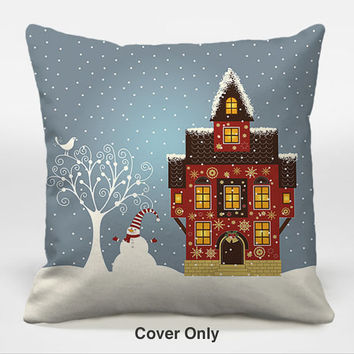Throw pillow cover with Christmas art 16x16, 18x18, 20x20 white, blue and brown decorative pillow cover, accent pillow cover, Let It Snowman