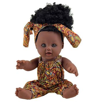 Newest 12 inch Lifelike Silicone Vinyl Dolls, African American Black Dolls, for Kids