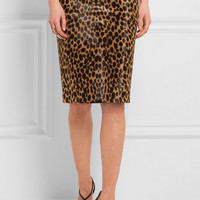 Ronald Van Der Kemp - Leopard-print calf hair pencil skirt