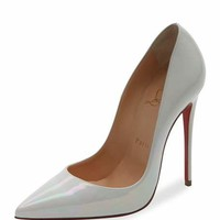 Christian Louboutin So Kate Patent 120mm Red Sole Pump, White