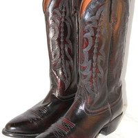 NOCONA Boots Kangaroo Cowboy Burgundy Leather Mens Size 9 D