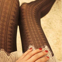 JUMEAUX Lace High Elastic Slim Women's Pantyhose Fashion Casual Vertical Stripes Tights