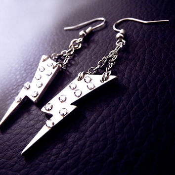 Lightning bolt earrings, boho earrings, silver earrings, crystal earrings, ACDC earrings, silver lightning earrings, OOAK