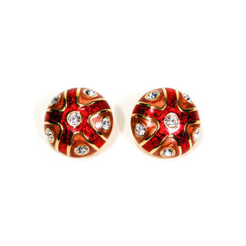 Joan Rivers Red, Rose, Rhinestone, Earrings, Clip On, Round Button Shape, Designer, Vintage Jewelry