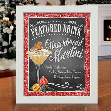Holiday Signature Drink Sign | Holiday, Christmas, Corporate Party Decor | Gingerbread Martini Cocktail | Personalized Gift Idea