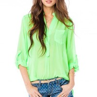 Pure Chiffon Blouse in Neon Lime - ShopSosie.com