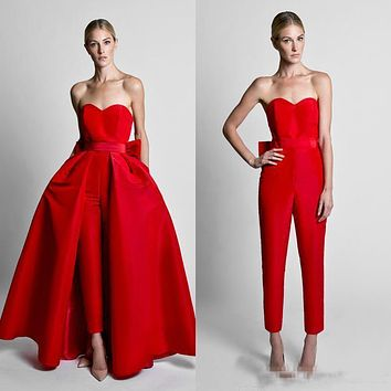 Knock Out Ravishing Red Jumpsuit With Detachable Sweetheart Satin Skirt