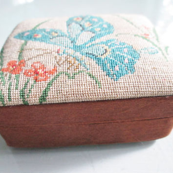 Vintage butterfly trinket box made in peoples republic of china of wood and needlepoint sewing box jewelry blue orange red