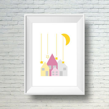 Nursery print, Moon and stars nursery wall art, modern nursery wall decor Little houses under the stars
