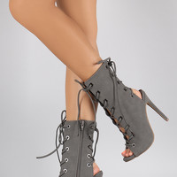 Shoe Republic LA Front-Back Corset Lace Up Heel