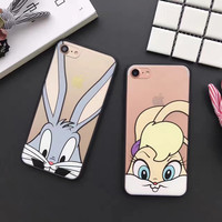 Cute Fashion Bug Bunny rabbit clear hard Phone Case For iPhone7 7Plus 6 6S Plus 5 5S SE -Girllove100