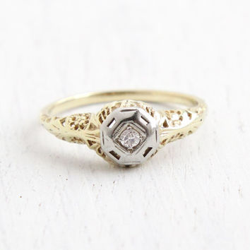 Antique 14k Yellow Gold & White Art Deco Diamond Ring - Size 7 1/2 Vintage Filigree 1930s Engagement Wedding Fine Jewelry